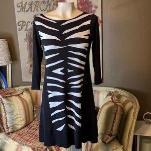 Eva Varro Body Con Zebra Animal Print Dress XS